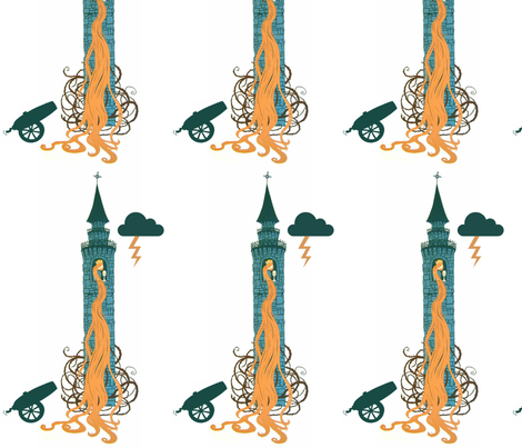 St Barbara in Her Tower fabric by kendra_tierney on Spoonflower - custom fabric