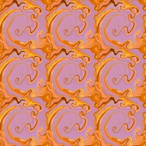Digital Dabbling Swirly Grid in Gold on Lavender