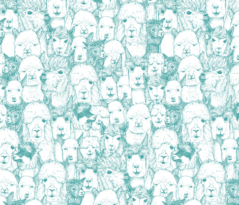 just alpacas teal white fabric by scrummy on Spoonflower - custom fabric