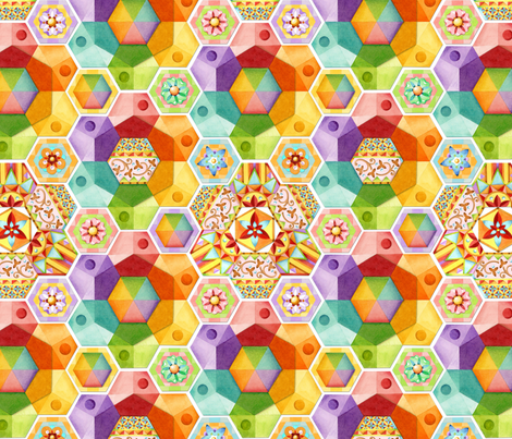 Rainbow Hexagons Patchwork (smaller scale fabric by patriciasheadesigns on Spoonflower - custom fabric