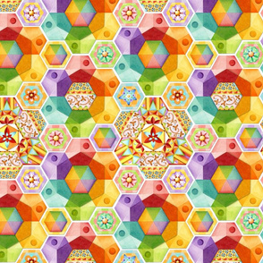 Rainbow Hexagons Patchwork (smaller scale
