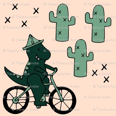 Trex Dinosaur Riding a Bike through the Saguaro National Monument
