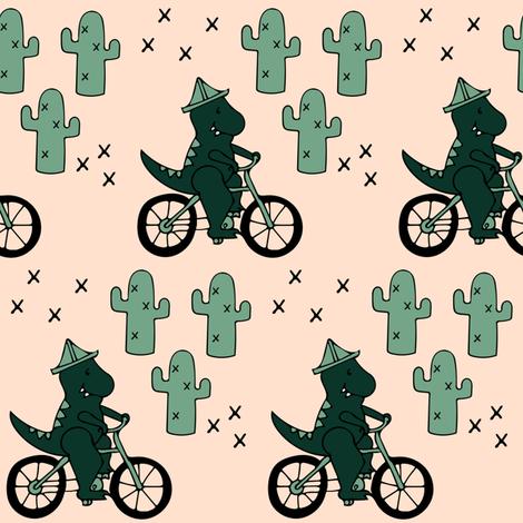 Trex Dinosaur Riding a Bike through the Saguaro National Monument fabric by twix on Spoonflower - custom fabric