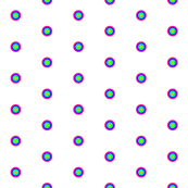 White and Inversed Rainbow Polka Dots