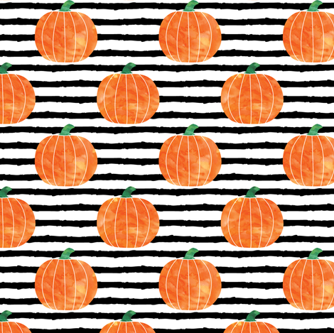 watercolor pumpkins on stripes fabric by littlearrowdesign on Spoonflower - custom fabric