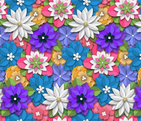 Spring Paper-Cut Bouquet  fabric by cherishedminky on Spoonflower - custom fabric
