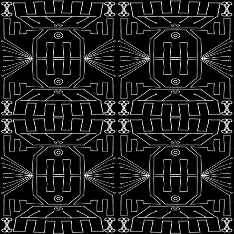 Temple of Communication BLK fabric by inky_leguin on Spoonflower - custom fabric