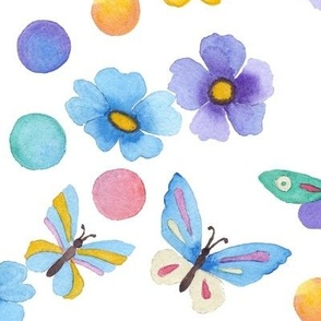 Watercolor . Multi-colored butterflies .