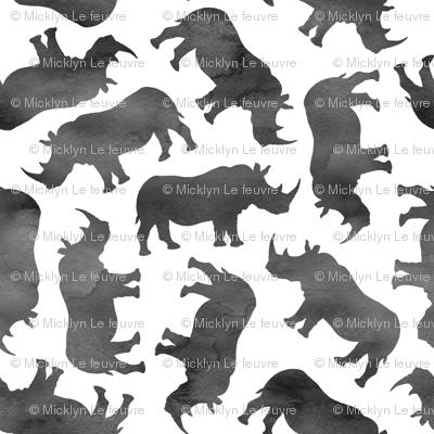 Little Watercolor Rhinos - monochrome