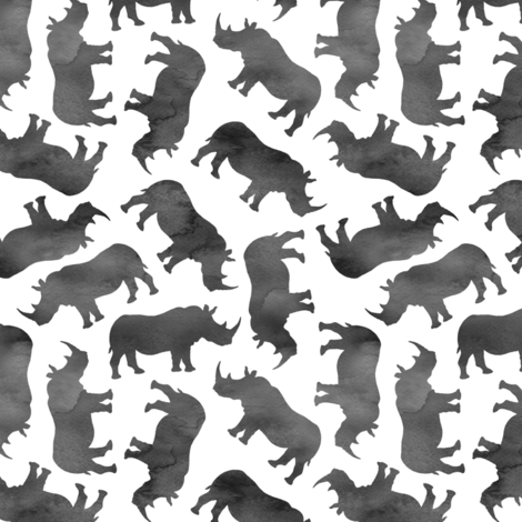 Little Watercolor Rhinos - monochrome fabric by micklyn on Spoonflower - custom fabric