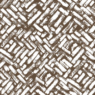 Brushstrokes Painterly Woven Weave Basket Chevron Pattern White and Brown - Taupe