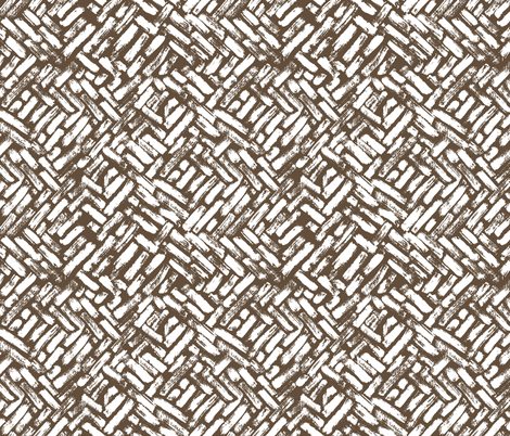 Brushstrokes Painterly Woven Weave Basket Chevron Pattern White and Brown - Taupe fabric by khaus on Spoonflower - custom fabric