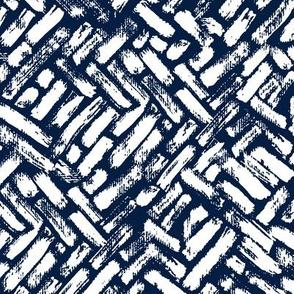 Brushstrokes Painterly Woven Weave Basket Chevron Pattern White and Royal Blue - Dark Blue