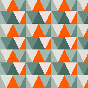 teal triangles // orange pop