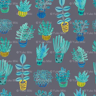 Watercolor Succulents: Grey