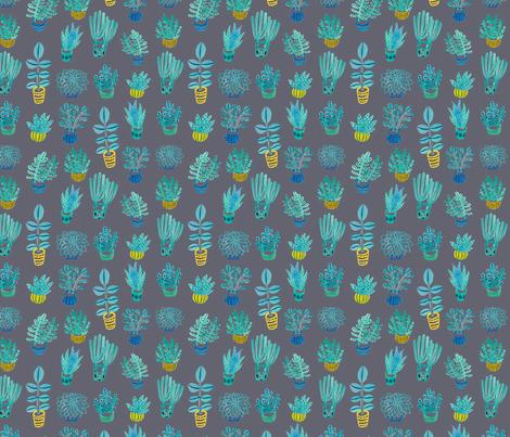 Watercolor Succulents: Grey fabric by honeyberrystudios on Spoonflower - custom fabric