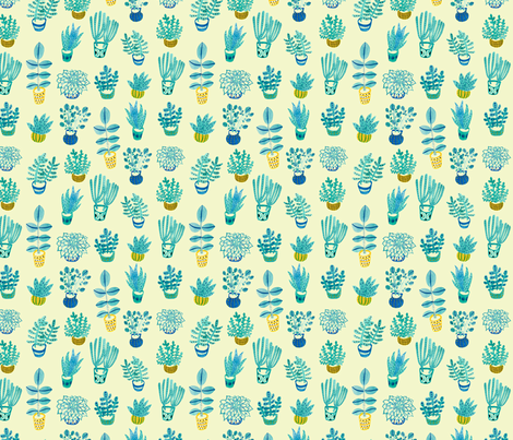Watercolor Succulents: Light Yellow fabric by honeyberrystudios on Spoonflower - custom fabric