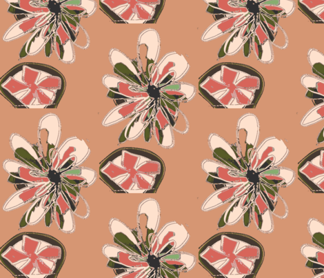 Terracotta Succulents fabric by menny on Spoonflower - custom fabric