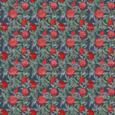 Red pomegrnates on navy