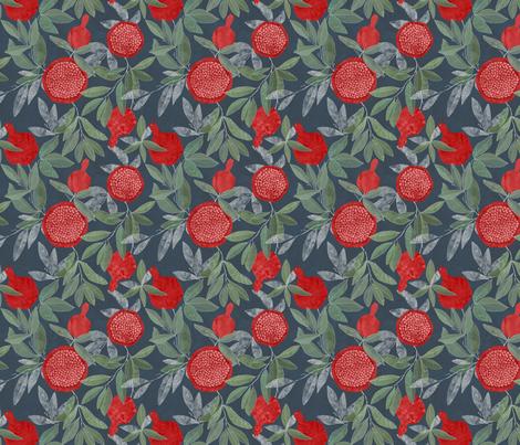 Red pomegrnates on navy fabric by lavish_season on Spoonflower - custom fabric