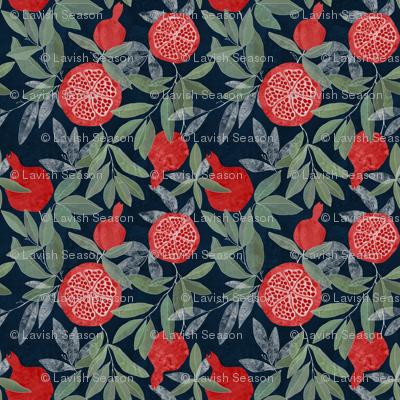 Pomegranate garden on dark