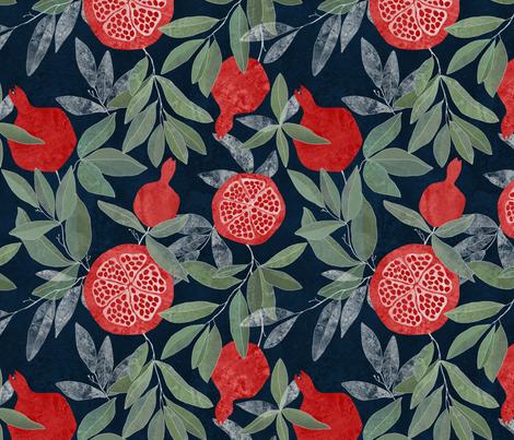 Pomegranate garden on dark fabric by lavish_season on Spoonflower - custom fabric