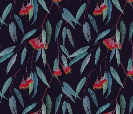 Eucalyptus leaves and flowers on dark fabric by lavish_season on Spoonflower - custom fabric