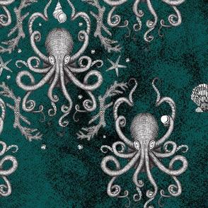 Octopus Damask - Teal