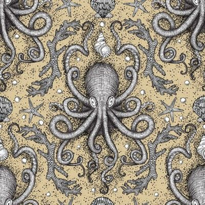 Octopus Damask - Sandy Tan