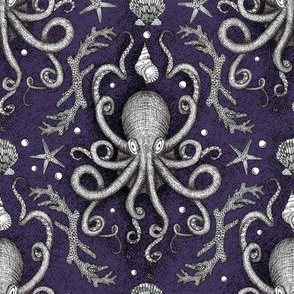 Octopus Damask - Purple