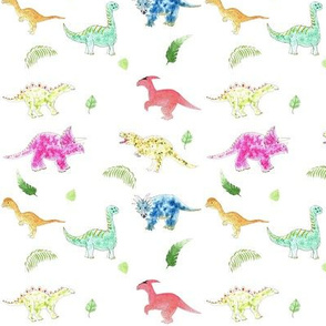 Bright Dinosaurs with leaves
