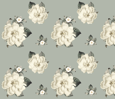 Happily Ever After Florals / Light Olive Green fabric by shopcabin on Spoonflower - custom fabric