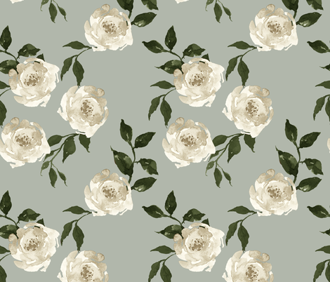 """10.5"""" Gypsy Heart /  Taupe & Olive / Green Background fabric by shopcabin on Spoonflower - custom fabric"""