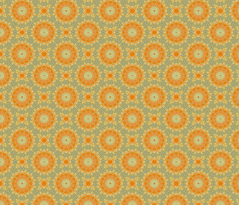 Orange and blue calico  fabric by northbloom on Spoonflower - custom fabric