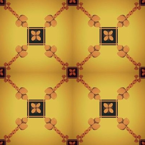 Spoonflower Trellis in brown and golds