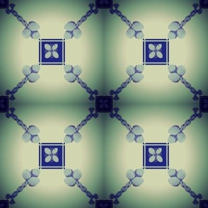 Spoonflower Trellis in blue and teal
