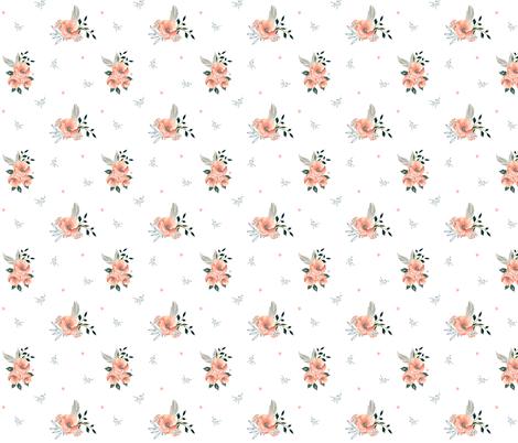 "8"" Sweet Dreams Baby Girl / Grey & Peach Florals fabric by shopcabin on Spoonflower - custom fabric"