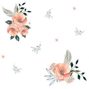 "8"" Sweet Dreams Baby Girl / Grey & Peach Florals"