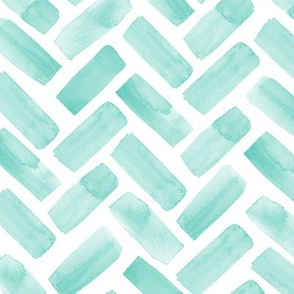 watercolor herringbone - green