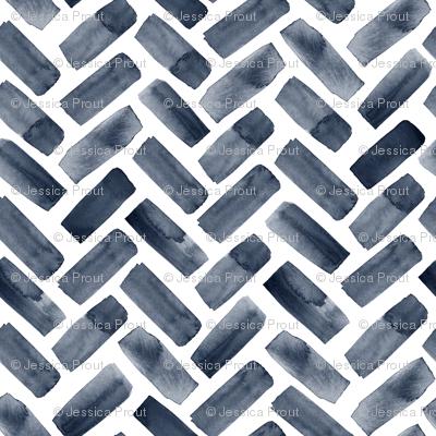 watercolor herringbone - navy