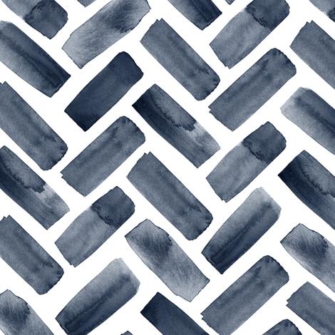 watercolor herringbone - navy fabric by littlearrowdesign on Spoonflower - custom fabric