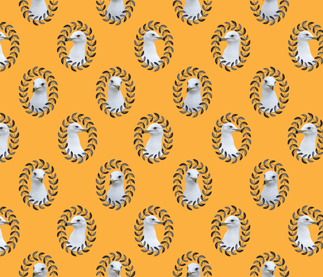 Regal Seagull in Mustard  fabric by saint_shores on Spoonflower - custom fabric