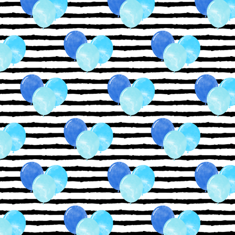 balloons on stripes - blue fabric by littlearrowdesign on Spoonflower - custom fabric