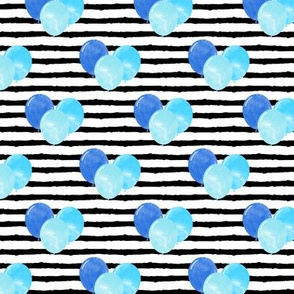 balloons on stripes - blue