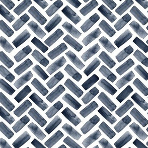 (small scale) watercolor herringbone - navy