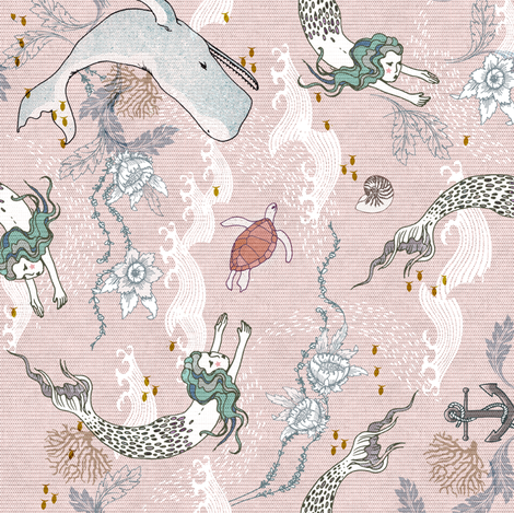 Mermaids (small) pink ROTATED fabric by nouveau_bohemian on Spoonflower - custom fabric