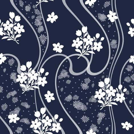 Etta atlantic navy fabric by lilyoake on Spoonflower - custom fabric
