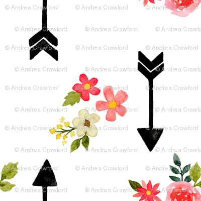Watercolor arrows and flowers white