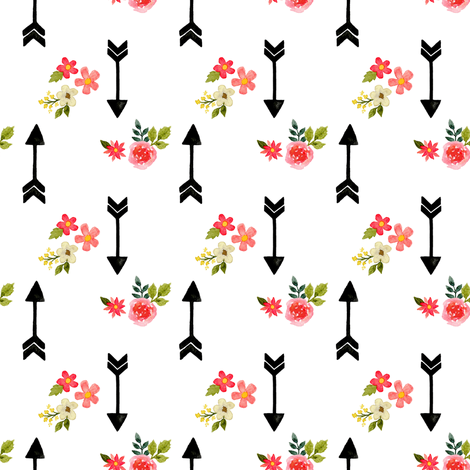 Watercolor arrows and flowers white fabric by mintpeony on Spoonflower - custom fabric