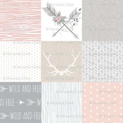 Boho Baby Girl Quilt - pink grey and cream linen